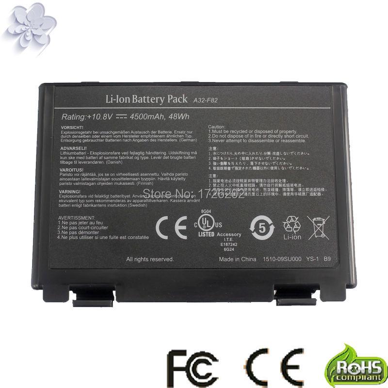 Batería del ordenador portátil para Asus A32-F52 A32-F82 F82 K40 K40in K50...