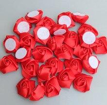 Rose rouge diamètre fait à la main 3.5Cm   Bricolage de fleurs en ruban Rose en Satin pour faire soi-même le Bouquet de mariage, accessoires de fleurs pour mariée, 20 pièces/sac