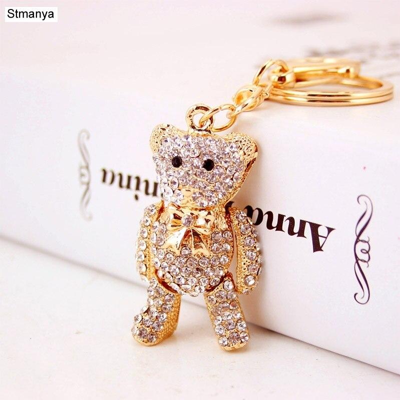 Hig Qualty, oso de cristal, soporte para llavero de diamantes de imitación, llavero para coche, llavero de bolsa, llaveros para regalo de cumpleaños para Amiga 1589