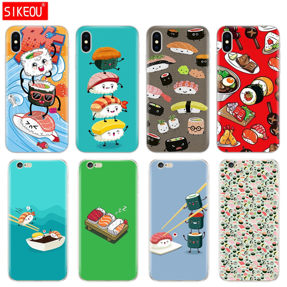 Tampa Do Telefone de Silicone Case Para Iphone 5 6X8 7 6 s 5S SE Plus 10 XR XS Max caso culinária Japonesa Sushi comida
