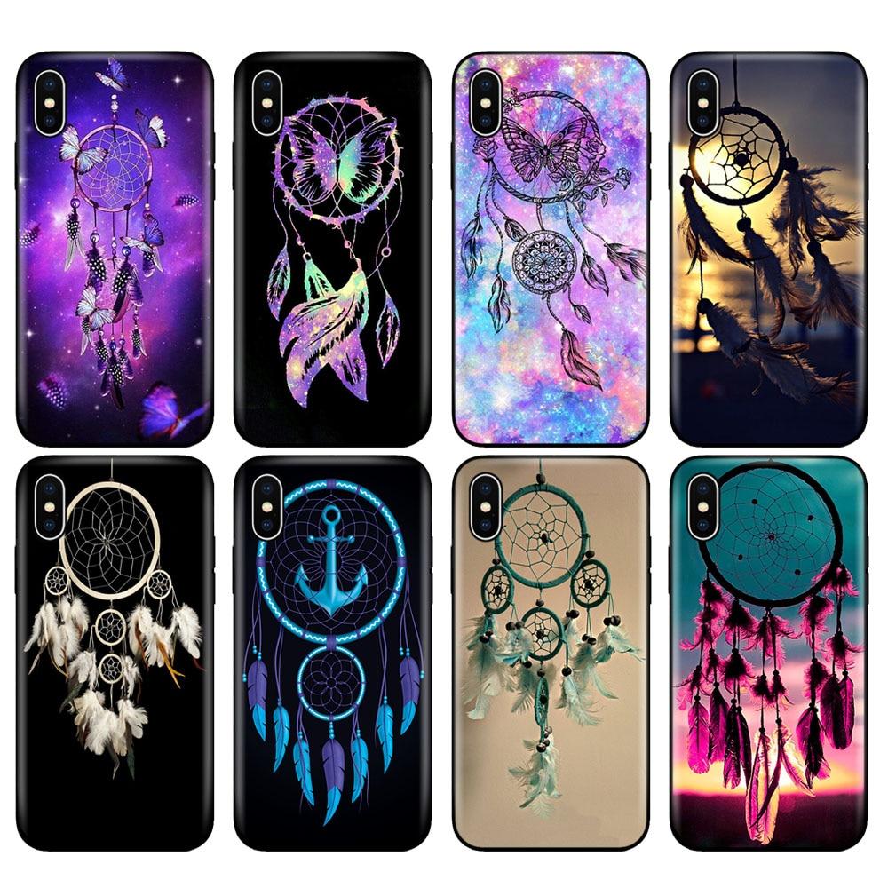 Negro tpu caso para iphone 5 5s SE 2020 6s 6 7 8 plus x 10 caso funda de silicona para iphone XR XS 11 pro Max caso sueño Catcher