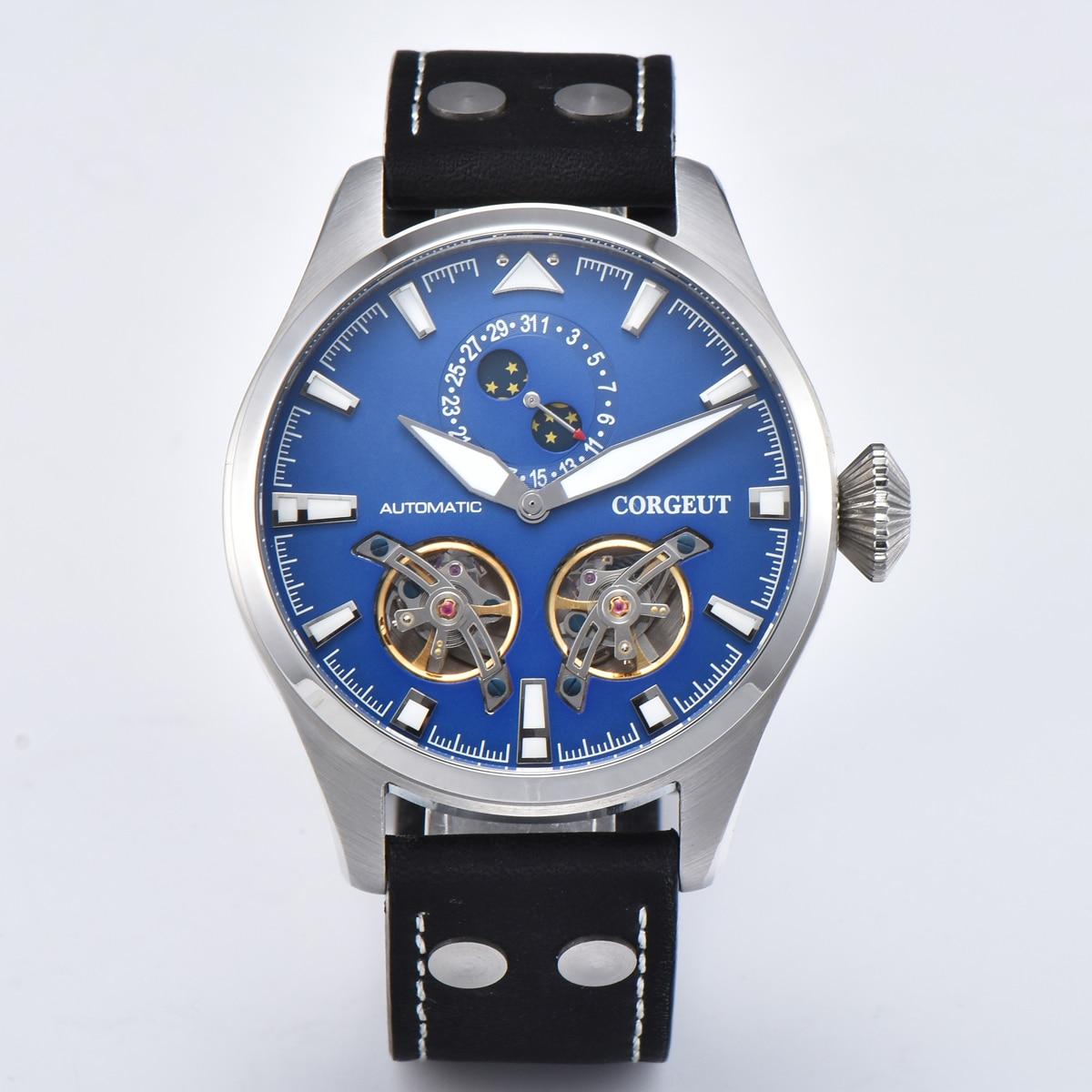 47mm Corgeut volante mecánico automático reloj esfera azul con fecha luminosa