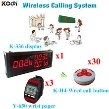 Wireless Call Bell System Fashion Nice Design Wireless Waiter Call Button (1 display 3 wrist watch 30 call button)