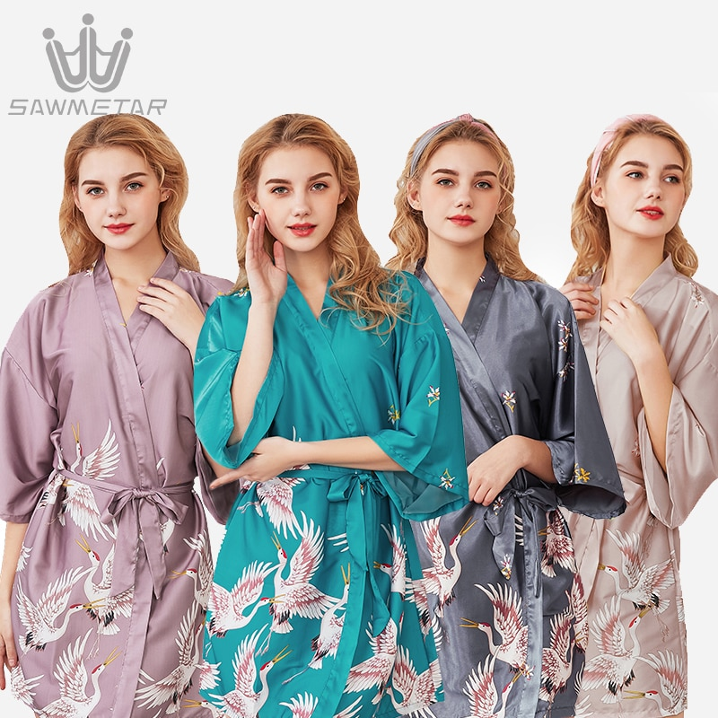 Sexy Large Size Silk Robe Satin Bathrobe Women Wedding Bride Bridesmaid Robes 2021 New Style Summer Sleepwear Dressing Gown