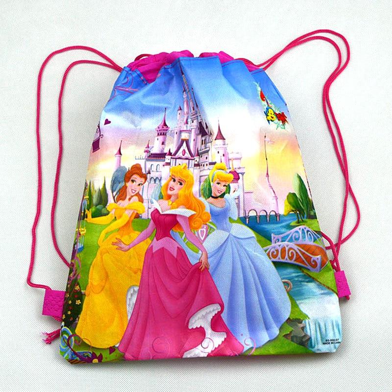 1 Uds. Bolsas de algodón con cordón de alta calidad Disney Six Princess Kid bolsa de viaje bolsa de almacenamiento de ropa zapatos bolsa escuela mochila portátil