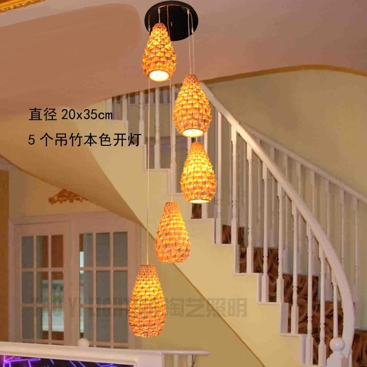 Lámpara colgante de bambú para escaleras, lámpara de bambú tejida, lámpara de restaurante para postres de piña, lámpara de bambú durian ZA zb17