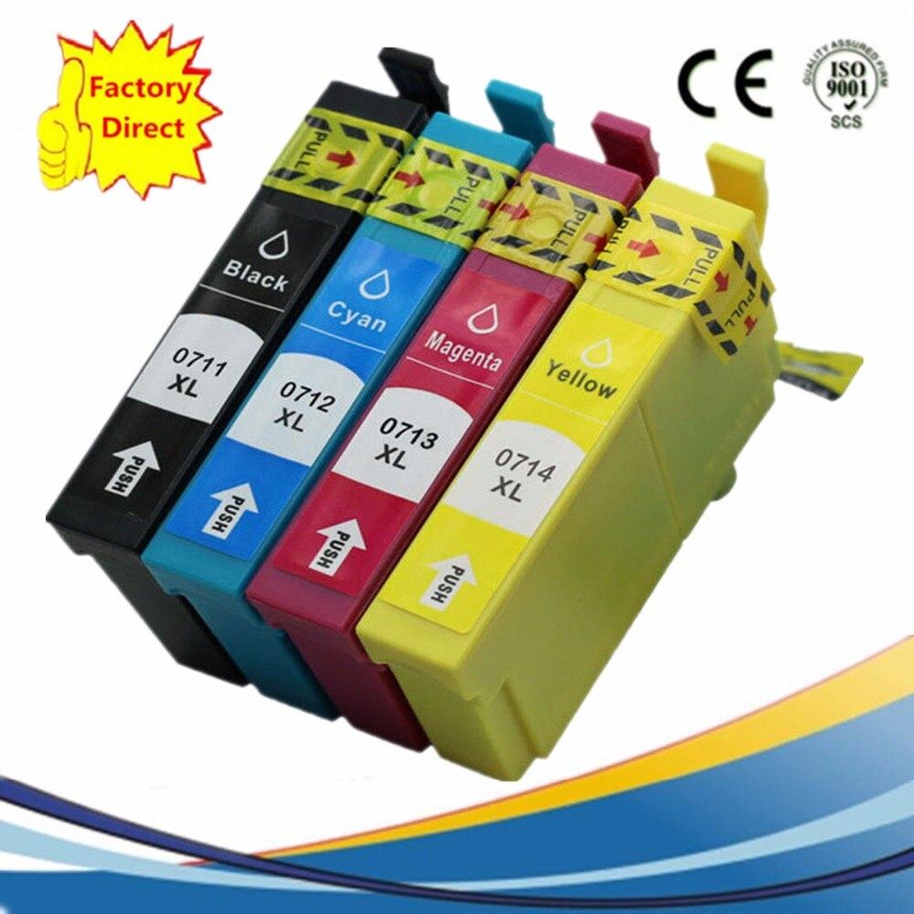Paquete de T0711 T0714 T0715 Compatible con reemplazo de cartuchos de tinta Stylus SX210 SX215 SX218 SX-210 SX-215 SX-218 SX400