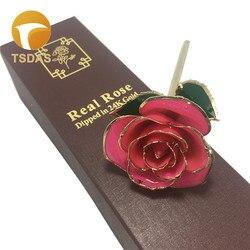 Ouro real 24 k mergulhado rosa dia das mães presente ouro rosas artificiais com caixa de presente para a decoração do casamento