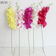 جديد جودة عالية الزهور الاصطناعية فرع واحد 9 رؤساء الزهور فالاينوبسيس متعدد الألوان وهمية الزهور لوازم ديكورات زفاف للمنزل