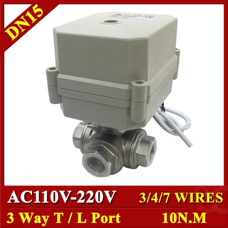 "Tsai Fan 3 válvula de bola eléctrica BSP/NPT 1/2 ""DN15 T puerto del puerto AC110V 220V 3/4/7 hilos accionado bola válvula 1Mpa en/de 15Sec"