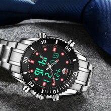 Top Brand Luxury TVG Men Watch Stainless Steel Dual Display Quartz Watches Fashion Men Sport Watch 1