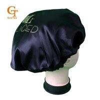 custom shop name silk satin bonnetluxury customized brand double layer virgin hair extensionshair wigs sleep satin silk bonnet