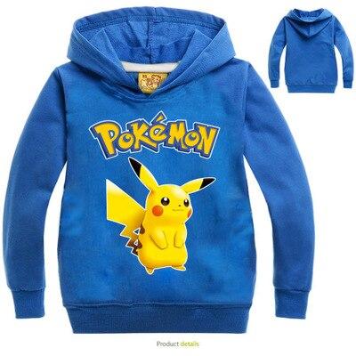 Pokemon Pikachu Print Hoodies Cartoon Childrens Sweatshirts For Boy Outwear Coat Kids Clothes Cartoon Boys Girls Tops Costume