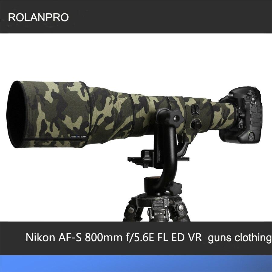 ROLANPRO عدسة الملابس التمويه معطف المطر غطاء ل نيكور نيكون AF-S 800 مللي متر f/5.6E FL ED VR عدسة واقية كم البنادق حالة
