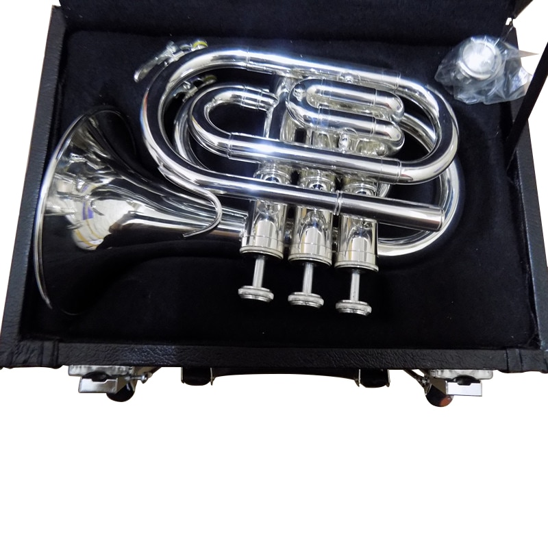 Bb Pocket trumpet horn Silver Plated with Case and Mouthpiece musical instruments professional enlarge