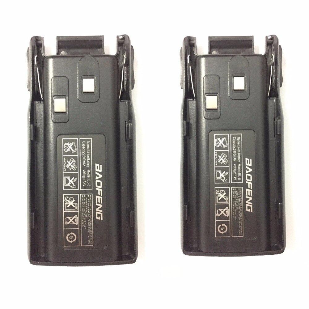 2 uds $TERM impacto Baofeng UV-82 walkie talkie la batería de Li-Ion 2800mAh 7,4 V para $TERM impacto Baofeng BF-UV82 UV82 UV-89 UV8D radio de dos vías BL-8