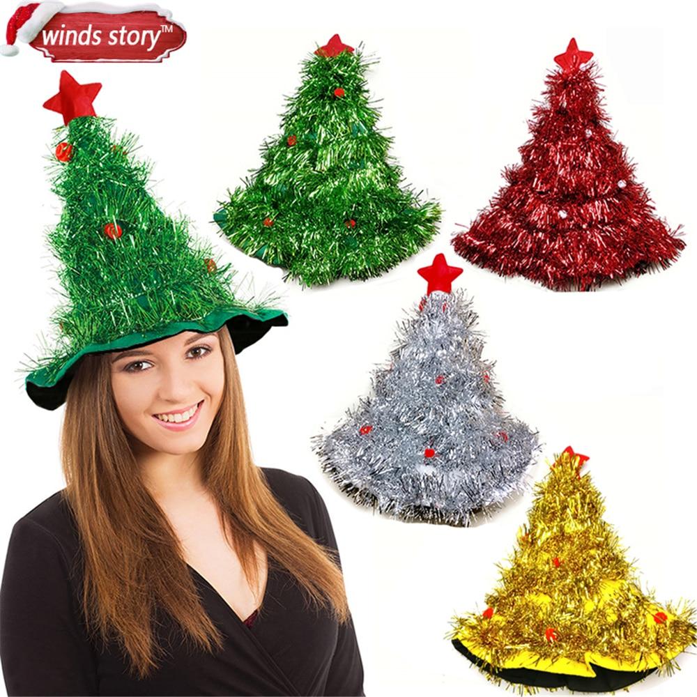 Sombrero de árbol de Navidad de oropel en 1 pieza, diadema para Papá Noel, Navidad, fiesta de Navidad, disfraz, sombrero, decoraciones para fiestas, sombreros