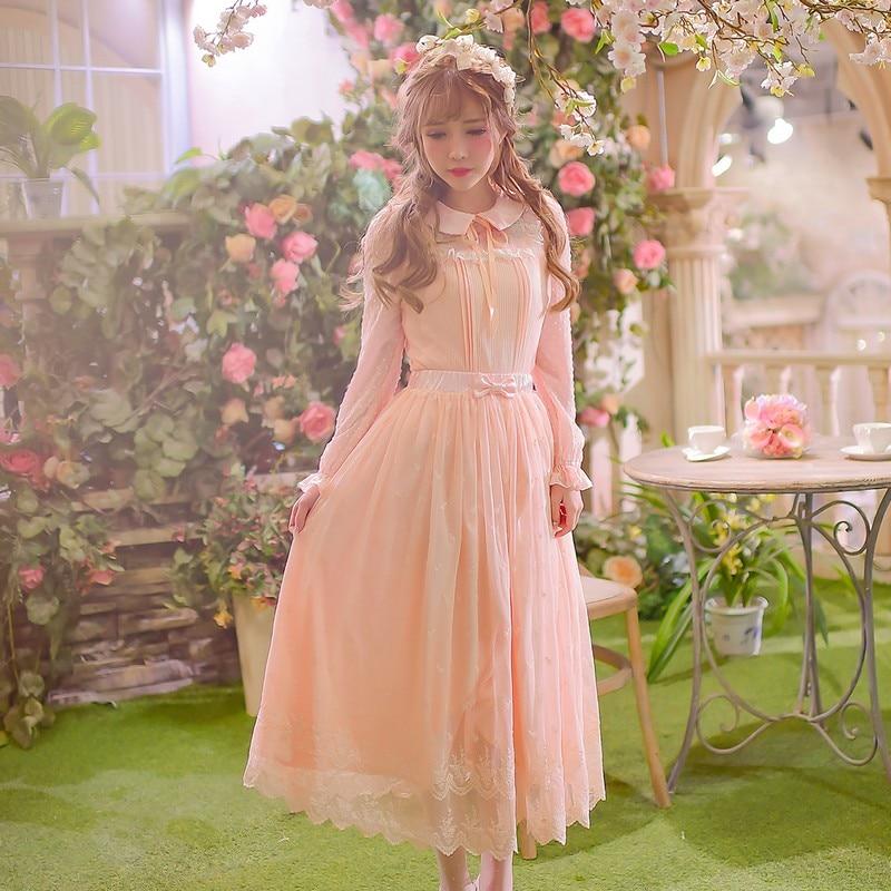 Принцесса сладкий Лолита рубашка конфеты дождь Оригинальный сладкий леди кукольный воротник свитер пальто женский шить шифон печатных ...