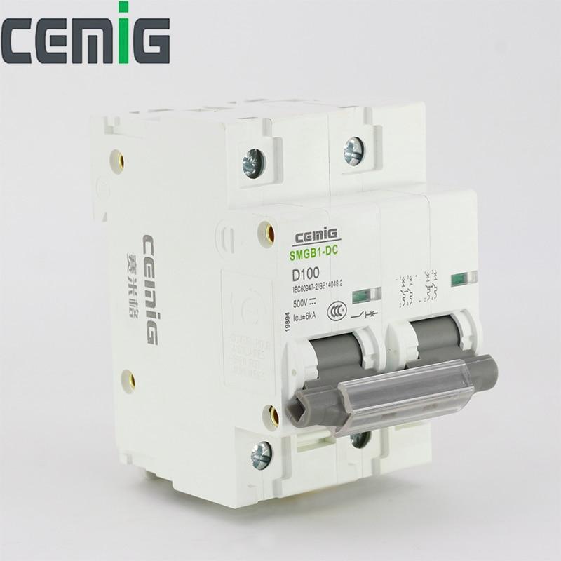 AliExpress - 2P DC 500V Circuit Breaker MCB 80A to 125A For Solar System Cemig SMGB1-DC500V
