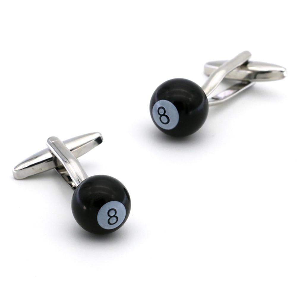 Gemelos de manguito de bola ocho para hombre Material cobre Color negro Snooker