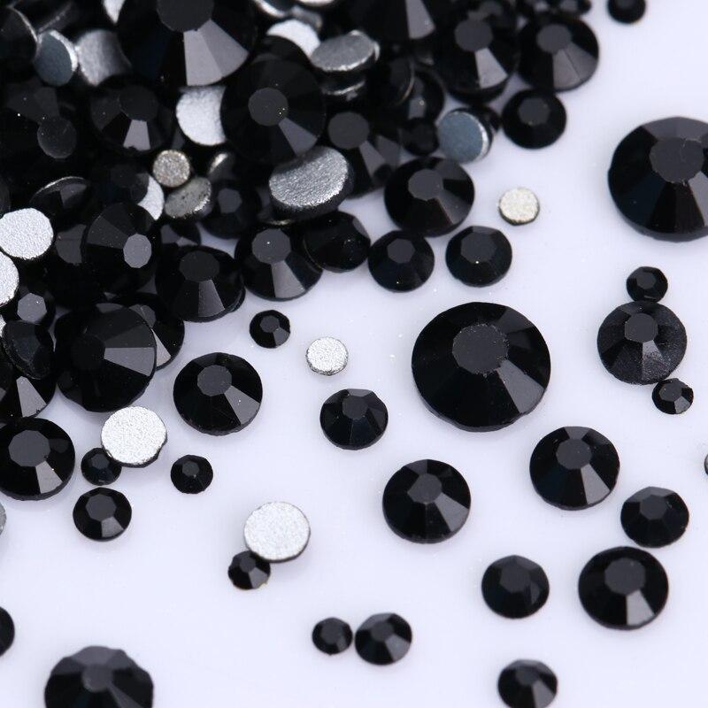 1440pcs Nail Art Crystal Rhinestones Multi-size Flat Bottom Stones Black Accessories 3D DIY Nail Art Decoration Design Tips