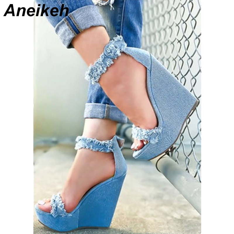 Aneikeh 2018, moda de otoño, Sexy cuñas de lona, tacones altos, zapatos de tobillo para mujeres, cubierta de talón, ropa Caual para fiesta, zapatos azules 35-40