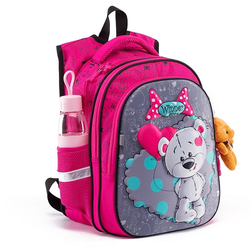 New 3D Cartoon School Bag For Gilrs Boys Cat Bear Pattern Orthopedic Backpack Children School Bags S