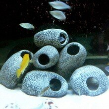 1pc Aquarium Cichlid Stein Keramik Rock Cave Aquarium Aquarium Teich Garnelen Zucht Ornament Dekor Zubehör Dekorative Marmor