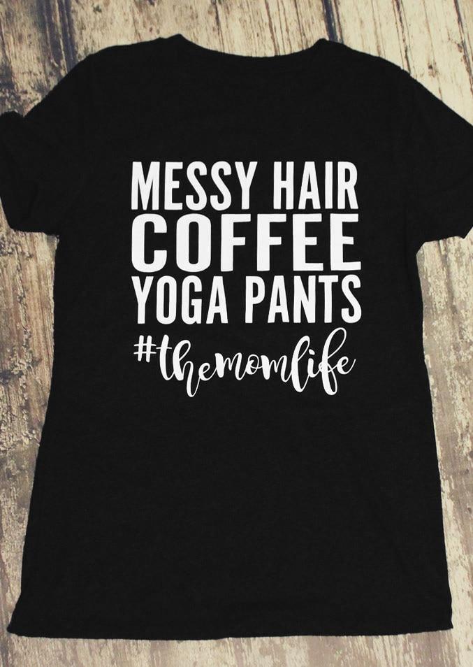 Cabello desordenado pantalones color café camiseta moda Camisa de algodón de las...