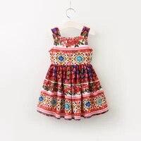 girls dress new summer floral kids dresses for girls dress sleeveless a line square collar dress girl