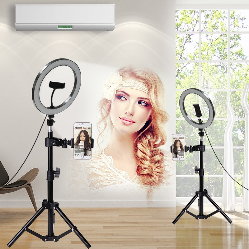 Anillo de luz LED selfie estudio Cámara fotografía mejora 10 pulgadas 26cm foto Cámara anillo luz con trípode USB Plug soporte de teléfono