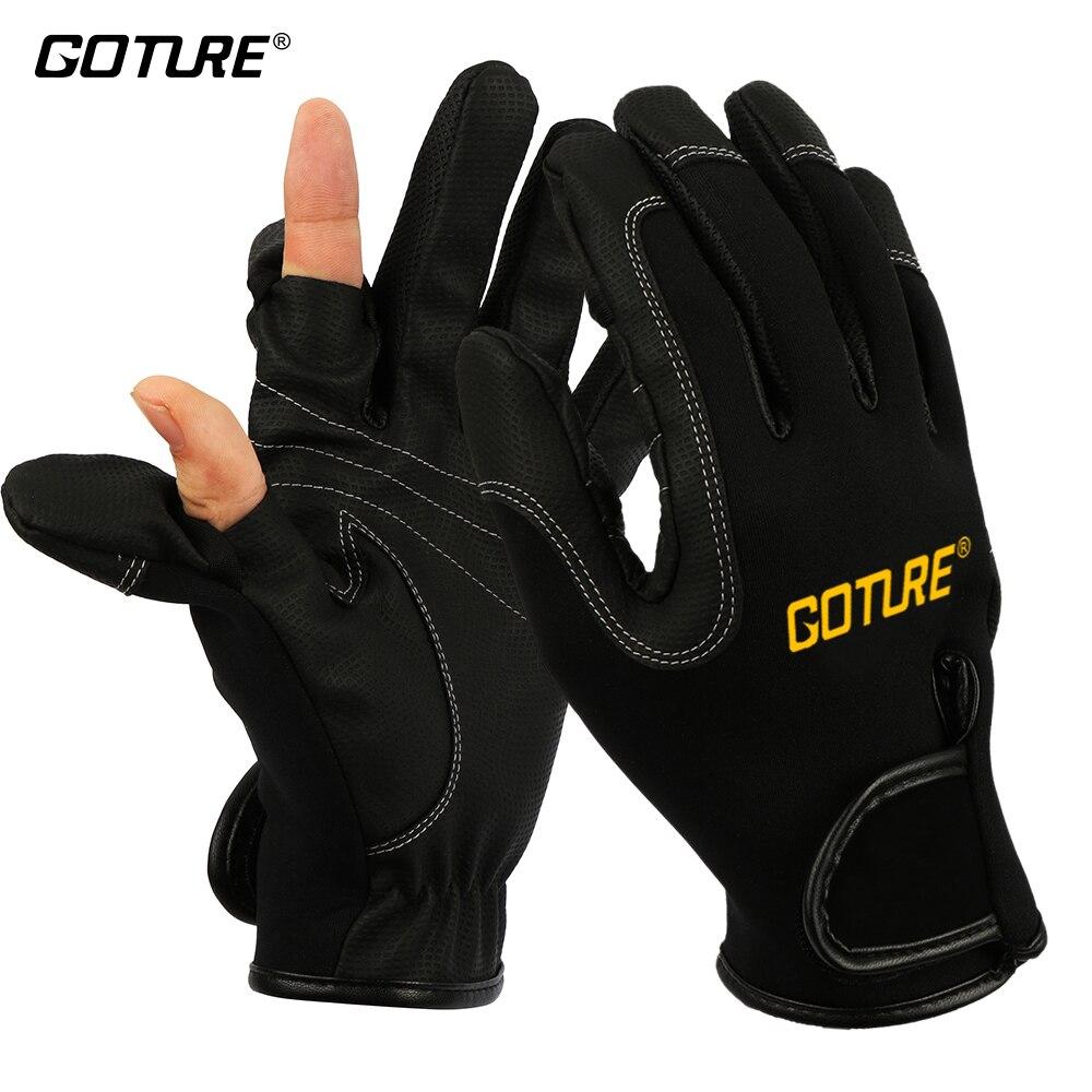 Guantes de pesca antideslizantes resistentes al agua Goture, guantes de 2 dedos cortados para pesca, caza, ciclismo, talla Europea L, Color negro/azul