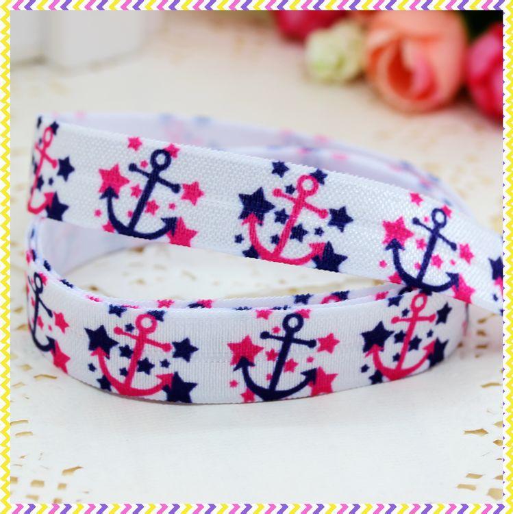 5/8'' Free shipping Fold Over Elastic FOE navy anchor printed headband headwear hair band diy decoration wholesale OEM B571