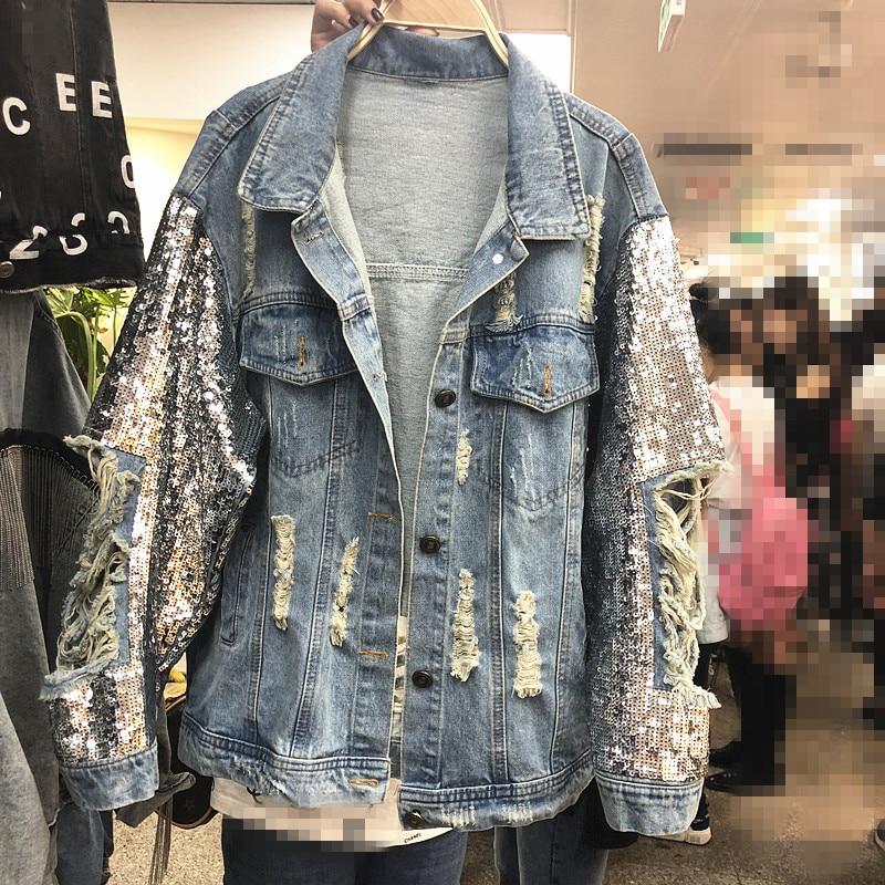куртка утепленная jackets industry jackets industry ja036emhcit6 2020 Spring New Heavy Industry Sequins Denim Jacket Women Loose Jeans Coats Outwear Holes Girls Lady Cowboy Jackets Streetwear
