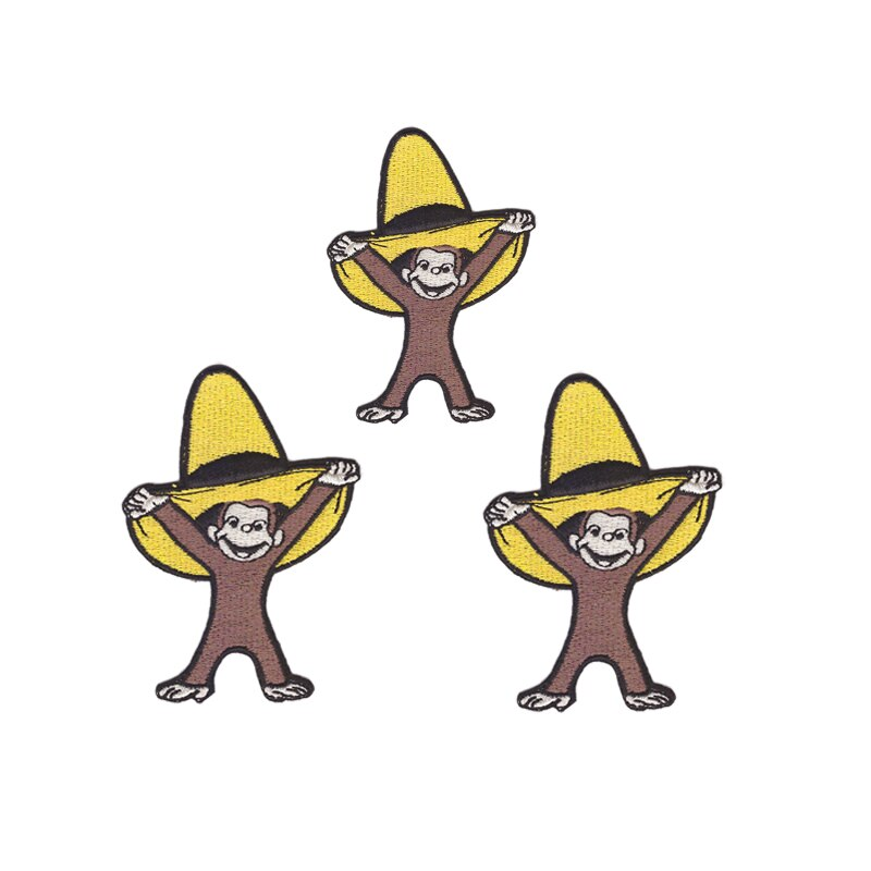 Parche de ropa para niños con bordado popular de dibujos animados, ropa con parche de mono bonito, calcomanías de adorno para paquete de ropa DIY pueden personalizarse