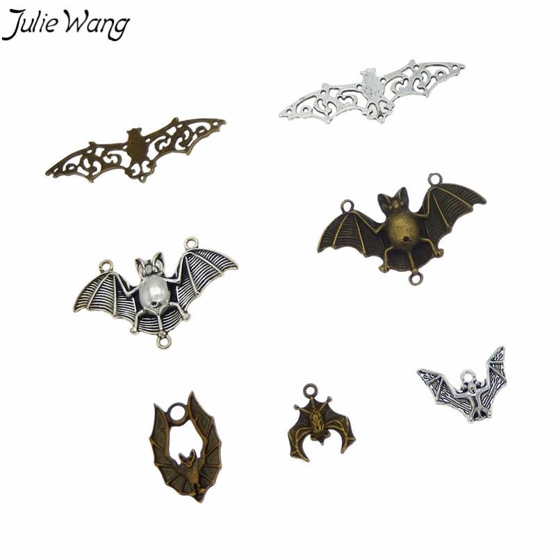 Джули Ван 7 шт Смешанные летучая мышь животное кулон металлические маленькие амулеты Античный цвет для DIY стимпанк ожерелье, ювелирные аксессуары