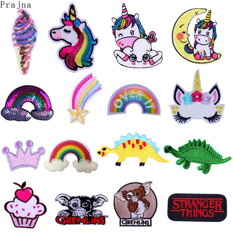 Prajna lindo DIY unicornio parche de hierro en parches de dibujos animados bordados parches para ropa rayas Anime GIZMO Gremlins parche adhesivo