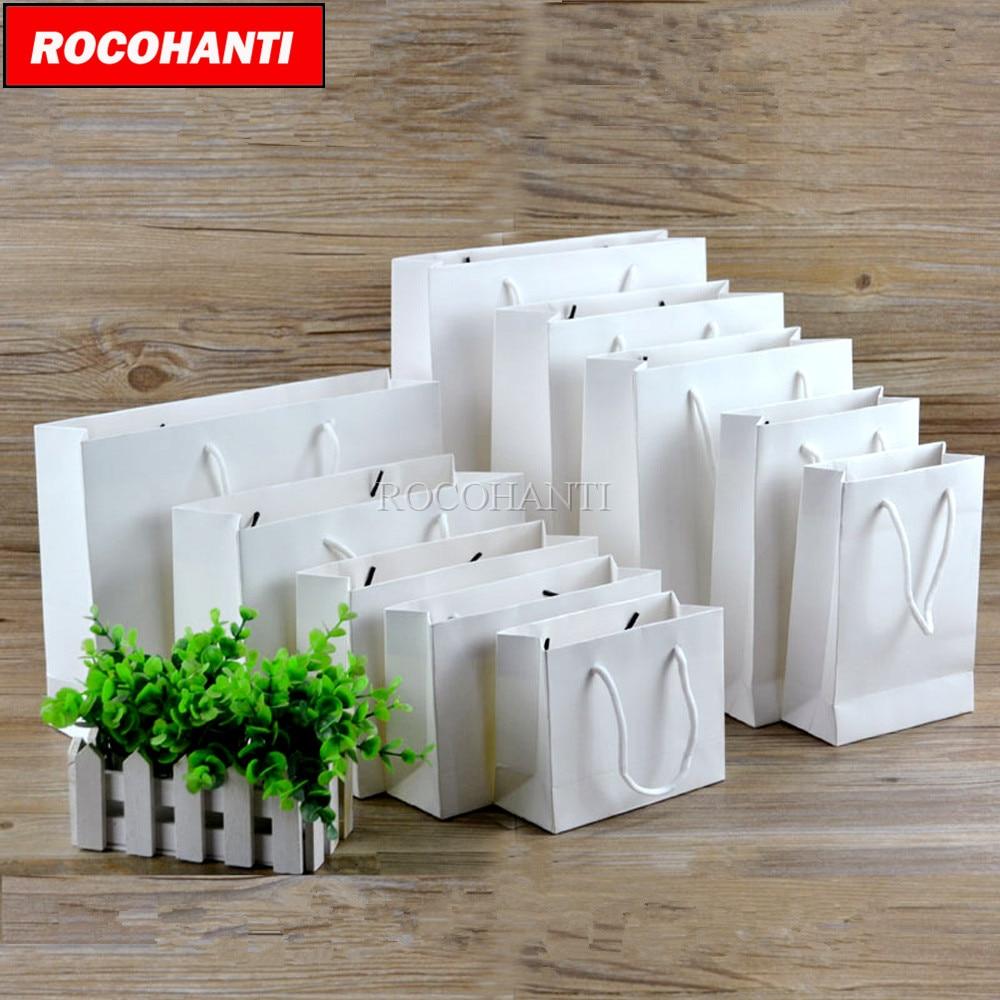 50X شعار مخصص مطبوعة سميكة حقيبة من ورق أبيض 250 غرام كرتون ورقة التسوق حقائب للهدايا مع سلسلة