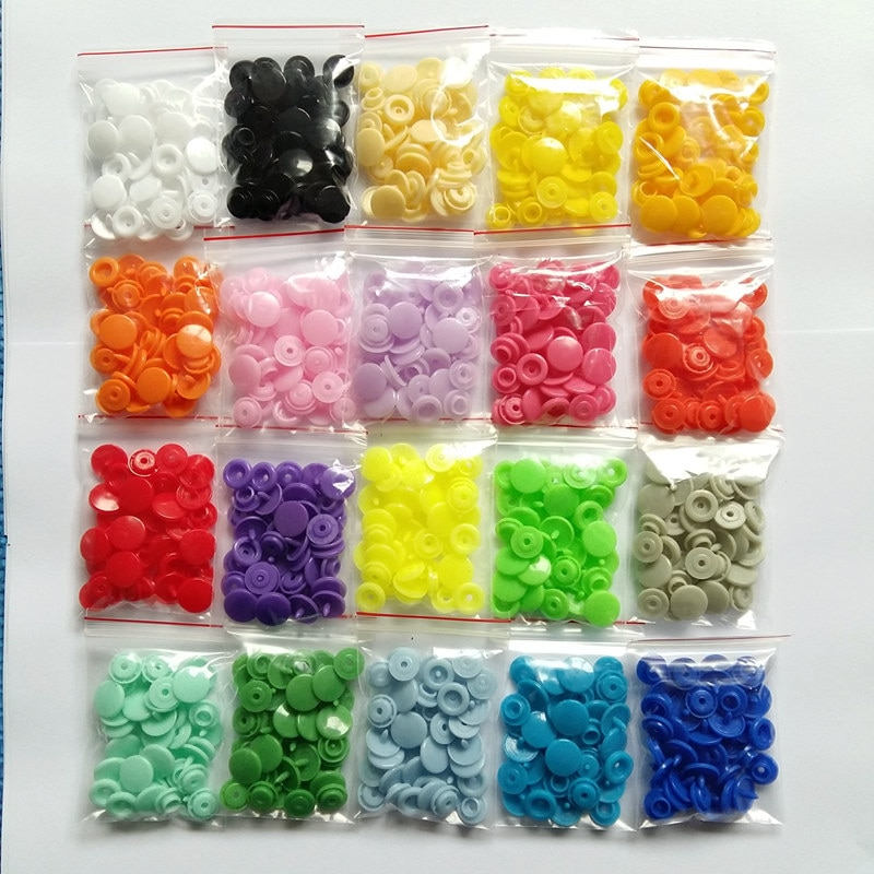 Botón a presión de plástico redondo de 12MM 100sets T5 ropa de bebé botones de pañales broches de presión Clips botones de presión [puede elegir los colores]