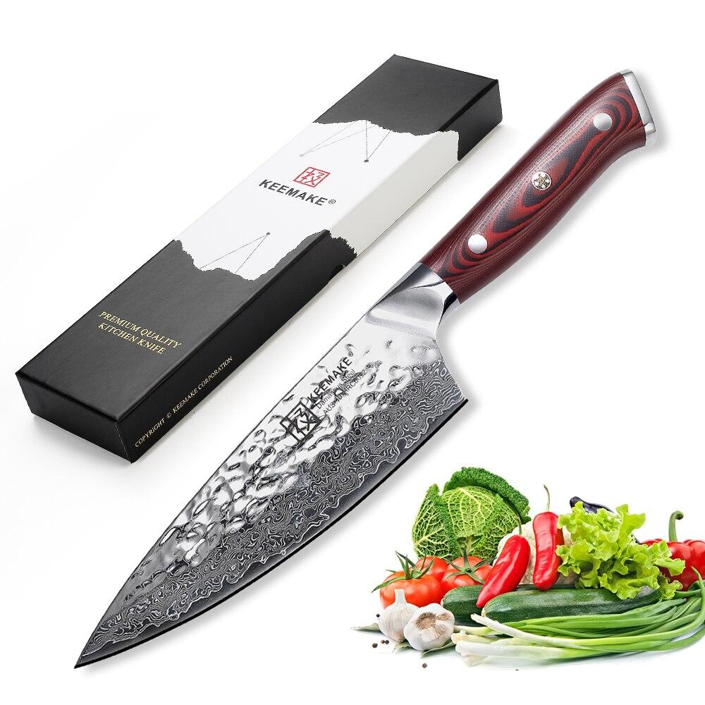 KEEMAKE الشيف سكين اليابانية دمشق AUS-10 الصلب شفرة حلاقة حادة سكاكين المطبخ 60HRC 6.5