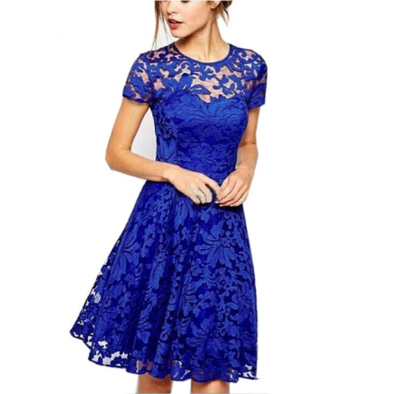 Moda novedosa vestido de verano para mujer, dulce vestido de encaje ahuecado, Vestidos de fiesta de sexis Princesa, Vestidos rojos, azules, 5XL, vestido de verano de talla grande