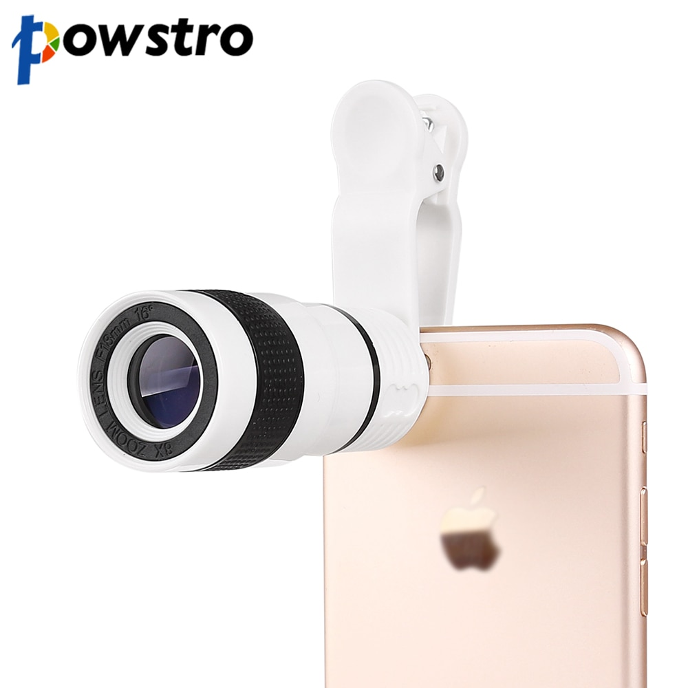 Powstro 8X Zoom telescópico lente de cámara con Clip, lente de cámara para iPhone 6 6s para Samsung para HTC y otros teléfonos inteligentes
