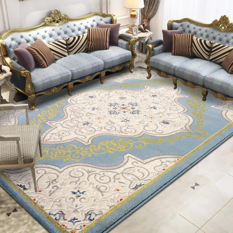 Alfombra francesa romántica de arte azul para sala de estar, alfombra de noche de estilo retro, alfombra decorativa para oficina, alfombra de suelo de gran tamaño