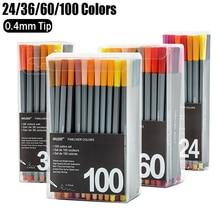 Juego de bolígrafo de Gel de colores 100mm con base de agua, pluma delineadora de punta fina, rotuladores de dibujo, pluma de Gel Stylo Kawaii, suministros escolares 0,4