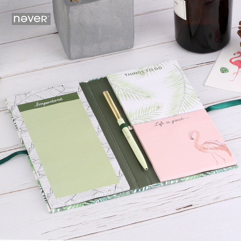 NEVER Plants series sticky notes sets notepad memo pad Flamingo Ball pen Stationery kits fashion office and school supplies