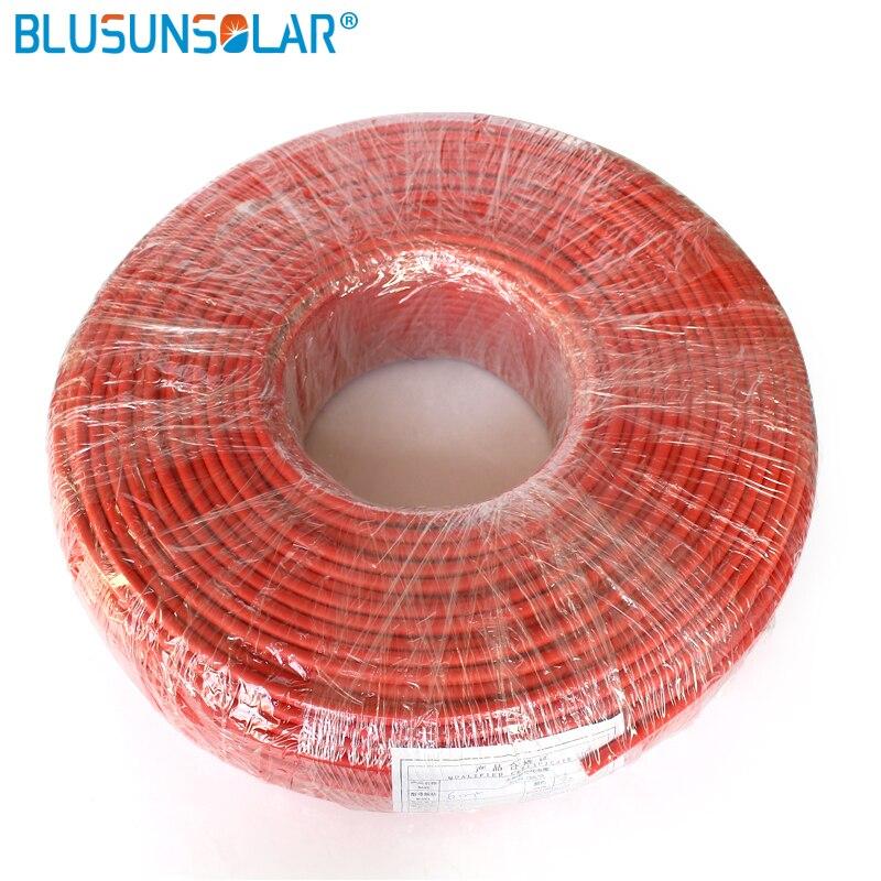 ¡Oferta! 50m/rollo 2.5mm2(14 AWG) Cable Solar Cable PV Cable conductor de cobre rojo o negro chaqueta XLPE con aprobación TUV