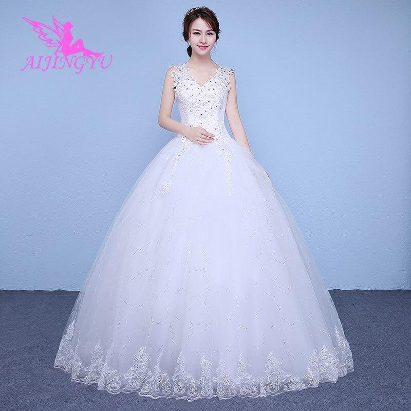 AIJINGYU 2018 cuello pico envío gratis nuevo superventas barato vestido de bola con cordones vestidos formales de novia vestido de novia WK344