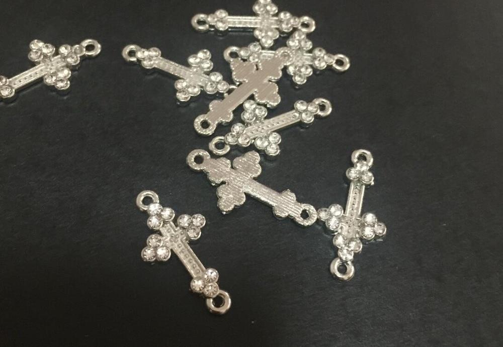 100 Uds 21x11x1mm claro bañado en plata Rhinestone lateral conector de Cruz/encantos, Cruz de circonia cúbica hallazgos de joyería