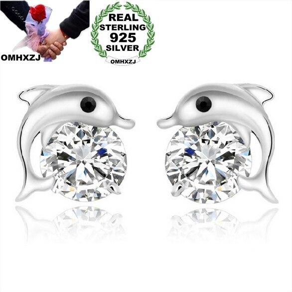 OMH, venta al por mayor, joyería de moda con cristales delfines 925, pendientes tipo botón de plata fina YS12