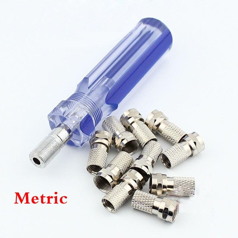 Set de herramientas de Cable de conexión F de TV, herramienta de alimentación de enchufe F de extrusión, 10 Uds. De juntas F, potenciadores métricos